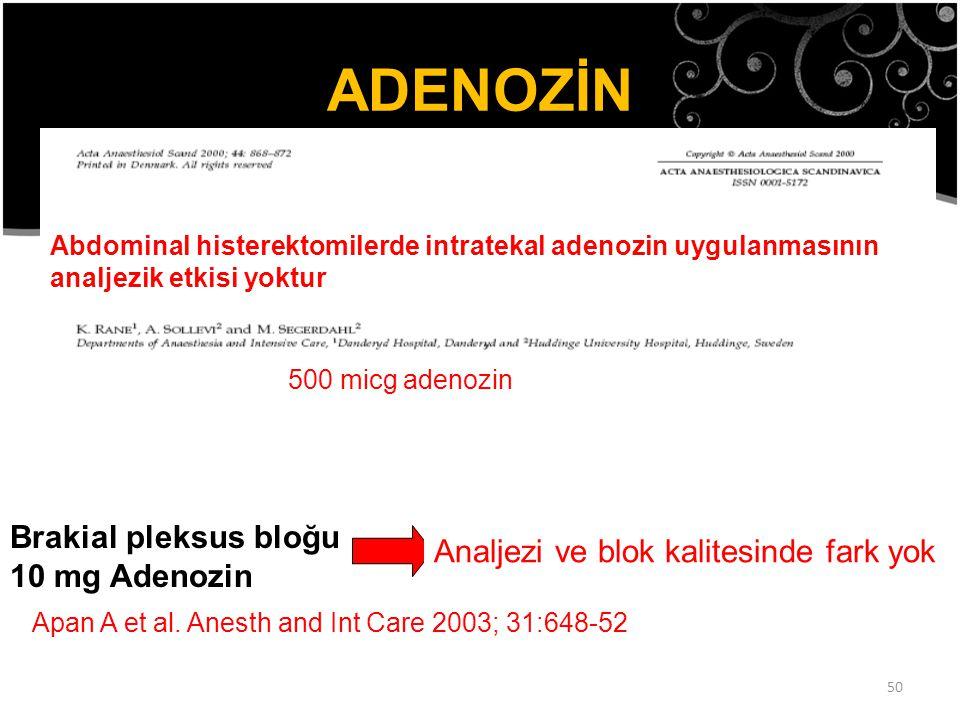 ADENOZİN Spinal kordun arka boynuzunda Adenozin A1 Reseptörleri