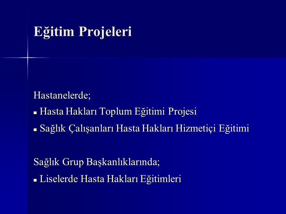 Eğitim Projeleri Hastanelerde; Hasta Hakları Toplum Eğitimi Projesi
