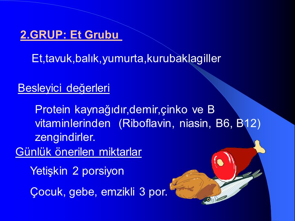 2.GRUP: Et Grubu Et,tavuk,balık,yumurta,kurubaklagiller. Besleyici değerleri.