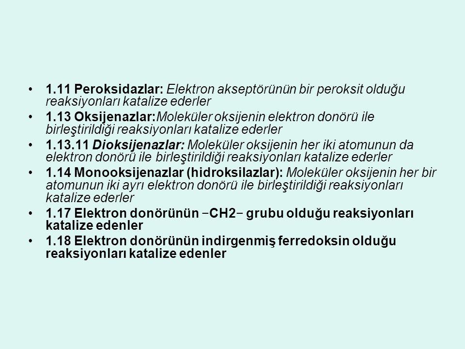1.11 Peroksidazlar: Elektron akseptörünün bir peroksit olduğu reaksiyonları katalize ederler