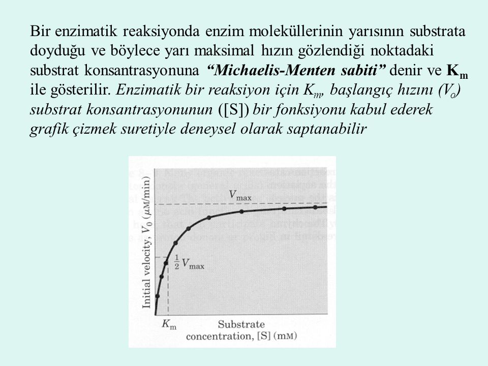 Bir enzimatik reaksiyonda enzim moleküllerinin yarısının substrata doyduğu ve böylece yarı maksimal hızın gözlendiği noktadaki substrat konsantrasyonuna Michaelis-Menten sabiti denir ve Km ile gösterilir.