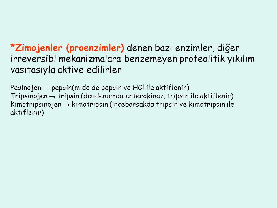*Zimojenler (proenzimler) denen bazı enzimler, diğer irreversibl mekanizmalara benzemeyen proteolitik yıkılım vasıtasıyla aktive edilirler
