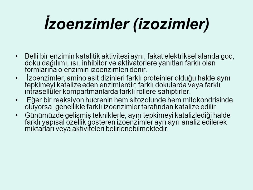 İzoenzimler (izozimler)