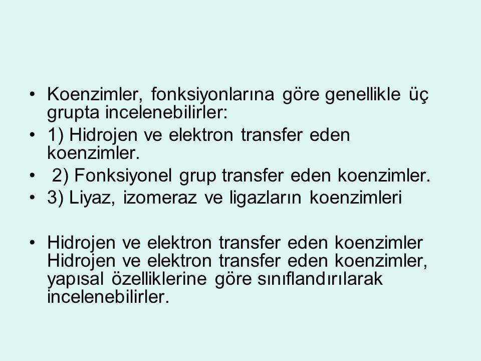 Koenzimler, fonksiyonlarına göre genellikle üç grupta incelenebilirler: