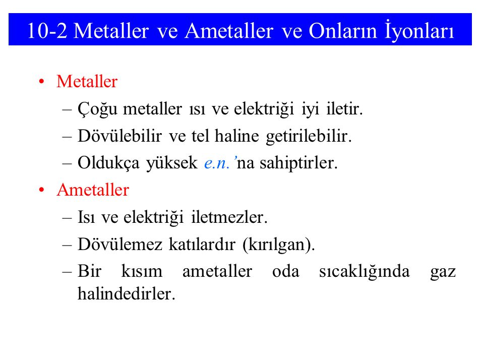 10-2 Metaller ve Ametaller ve Onların İyonları