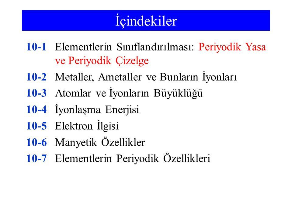 İçindekiler 10-1 Elementlerin Sınıflandırılması: Periyodik Yasa ve Periyodik Çizelge. 10-2 Metaller, Ametaller ve Bunların İyonları.