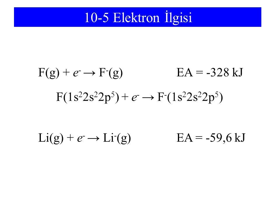 10-5 Elektron İlgisi F(g) + e- → F-(g) EA = -328 kJ