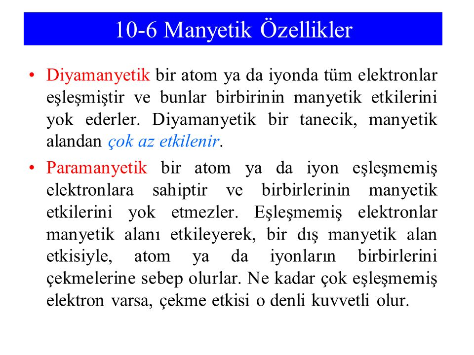 10-6 Manyetik Özellikler