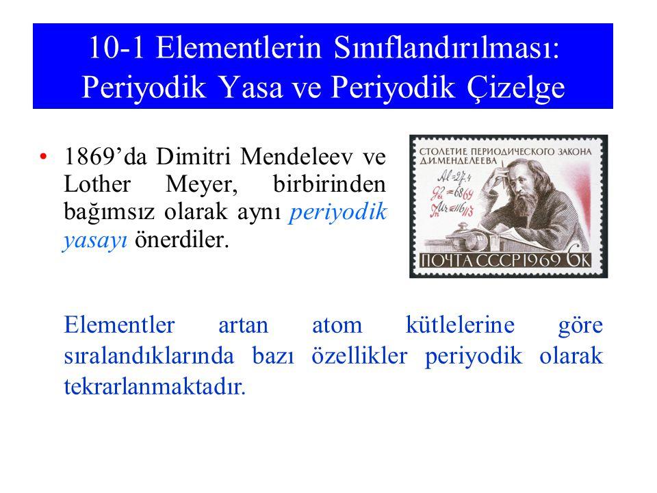 10-1 Elementlerin Sınıflandırılması: Periyodik Yasa ve Periyodik Çizelge