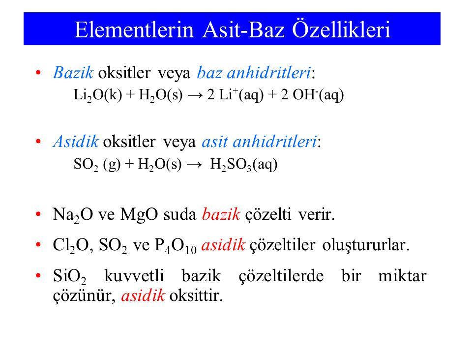 Elementlerin Asit-Baz Özellikleri