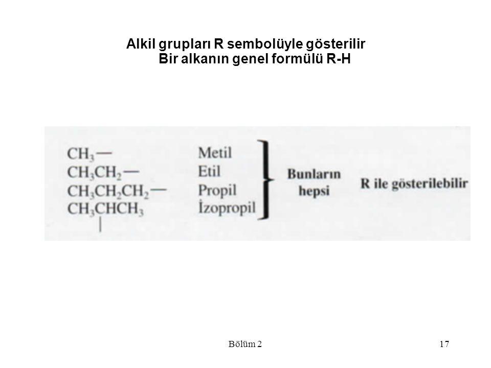 Alkil grupları R sembolüyle gösterilir Bir alkanın genel formülü R-H