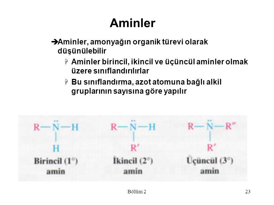 Aminler Aminler, amonyağın organik türevi olarak düşünülebilir