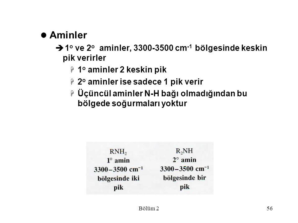 Aminler 1o ve 2o aminler, 3300-3500 cm-1 bölgesinde keskin pik verirler. 1o aminler 2 keskin pik.