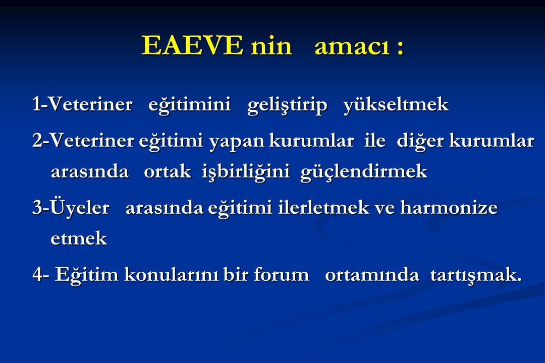 EAEVE nin amacı : 1-Veteriner eğitimini geliştirip yükseltmek