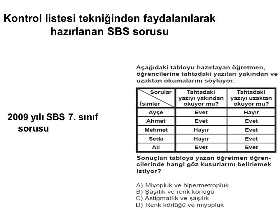 Kontrol listesi tekniğinden faydalanılarak hazırlanan SBS sorusu