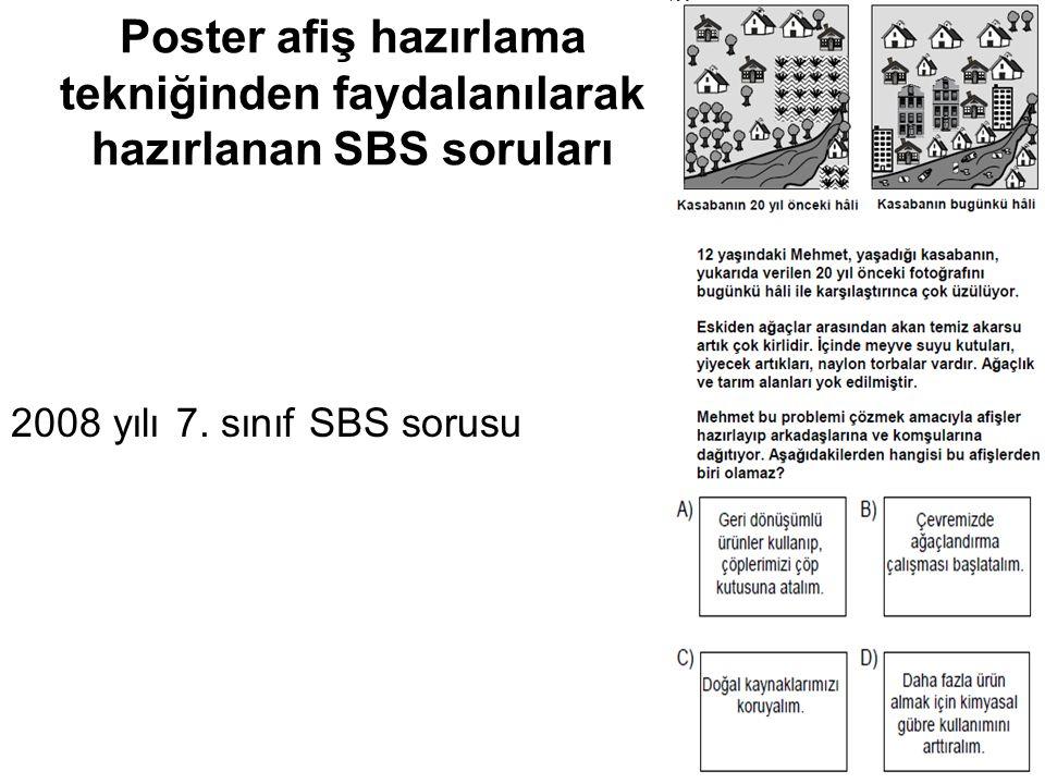 Poster afiş hazırlama tekniğinden faydalanılarak hazırlanan SBS soruları