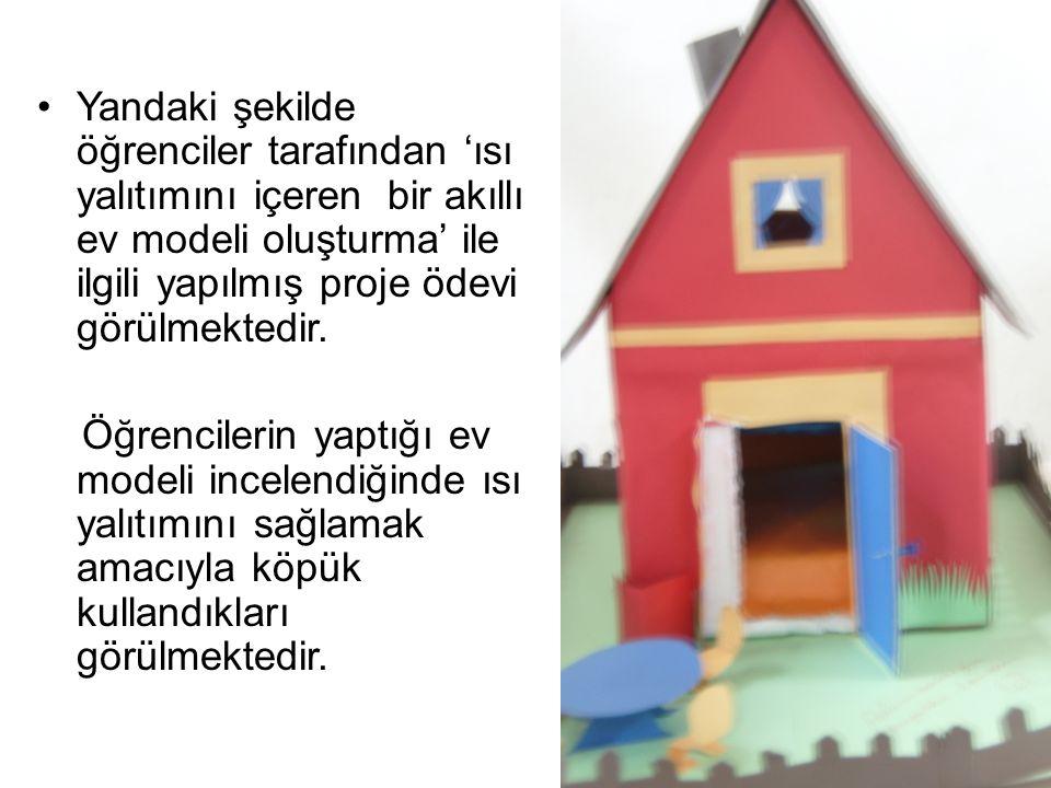 Yandaki şekilde öğrenciler tarafından 'ısı yalıtımını içeren bir akıllı ev modeli oluşturma' ile ilgili yapılmış proje ödevi görülmektedir.