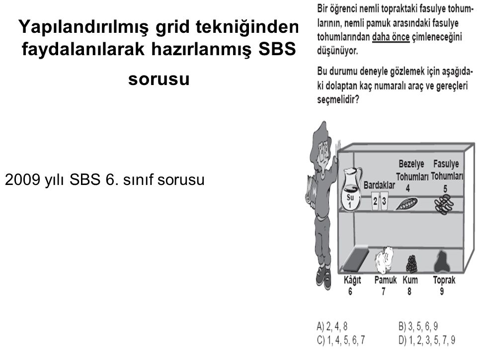 Yapılandırılmış grid tekniğinden faydalanılarak hazırlanmış SBS sorusu