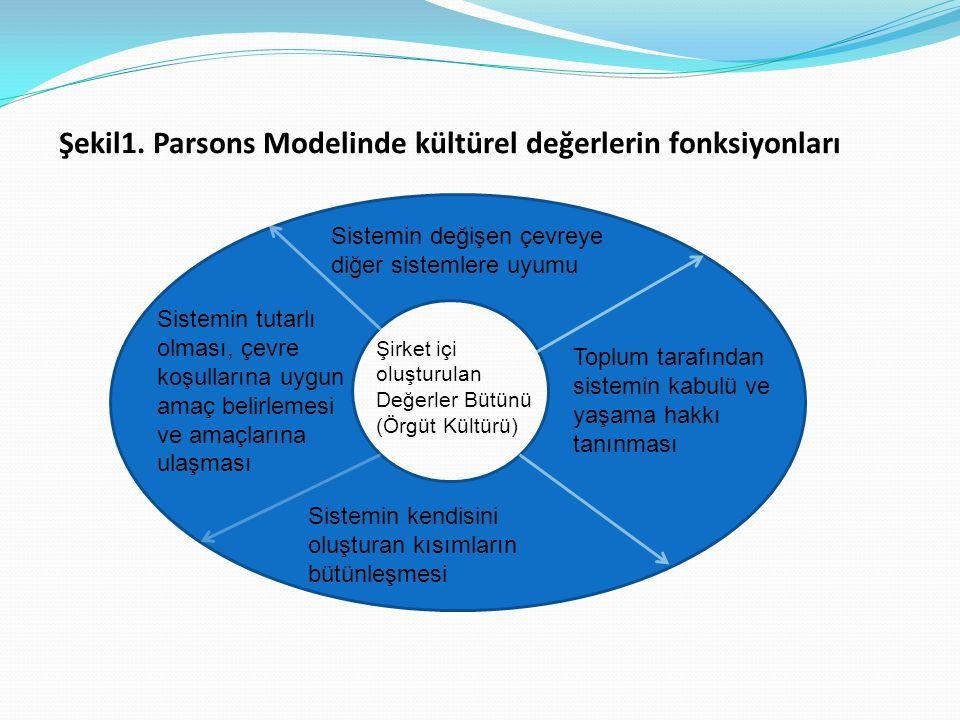 Şekil1. Parsons Modelinde kültürel değerlerin fonksiyonları