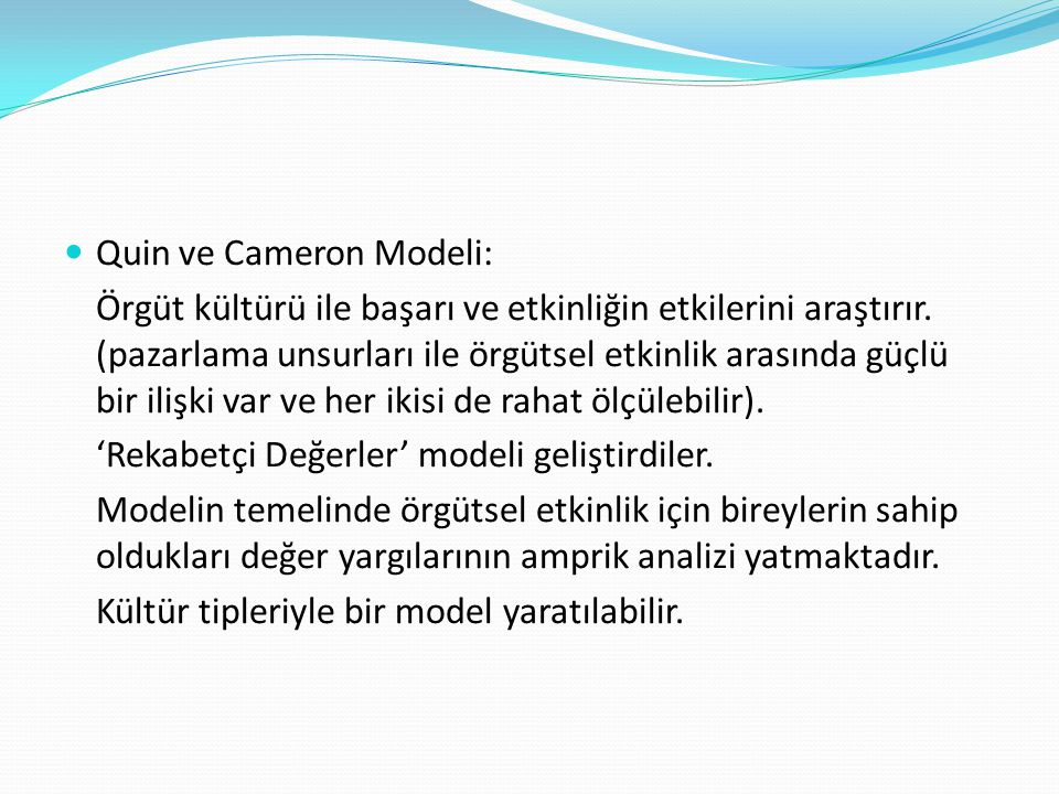 Quin ve Cameron Modeli: