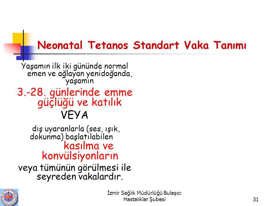 Neonatal Tetanos Standart Vaka Tanımı