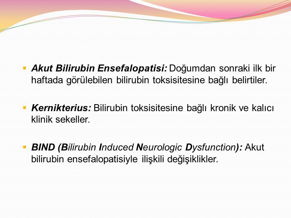 Akut Bilirubin Ensefalopatisi: Doğumdan sonraki ilk bir haftada görülebilen bilirubin toksisitesine bağlı belirtiler.