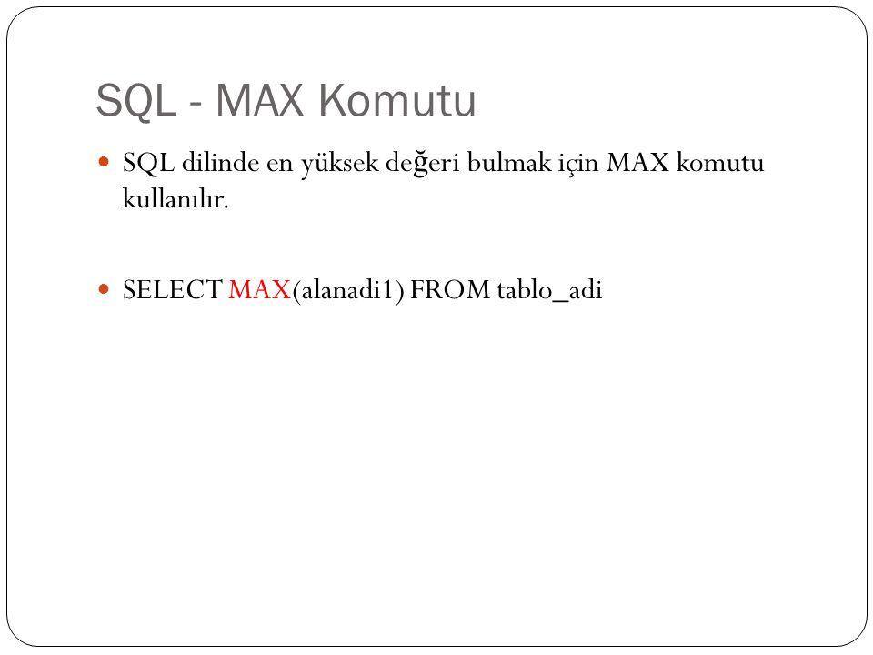 SQL - MAX Komutu SQL dilinde en yüksek değeri bulmak için MAX komutu kullanılır.