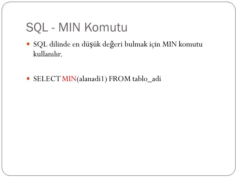 SQL - MIN Komutu SQL dilinde en düşük değeri bulmak için MIN komutu kullanılır.