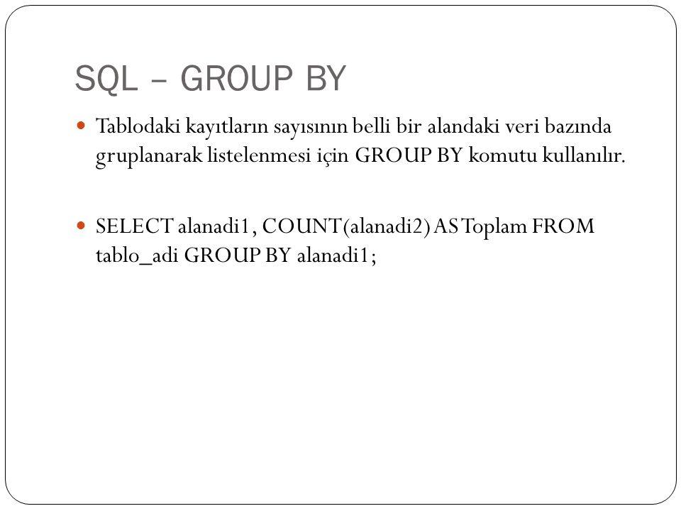 SQL – GROUP BY Tablodaki kayıtların sayısının belli bir alandaki veri bazında gruplanarak listelenmesi için GROUP BY komutu kullanılır.