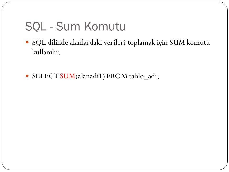 SQL - Sum Komutu SQL dilinde alanlardaki verileri toplamak için SUM komutu kullanılır.