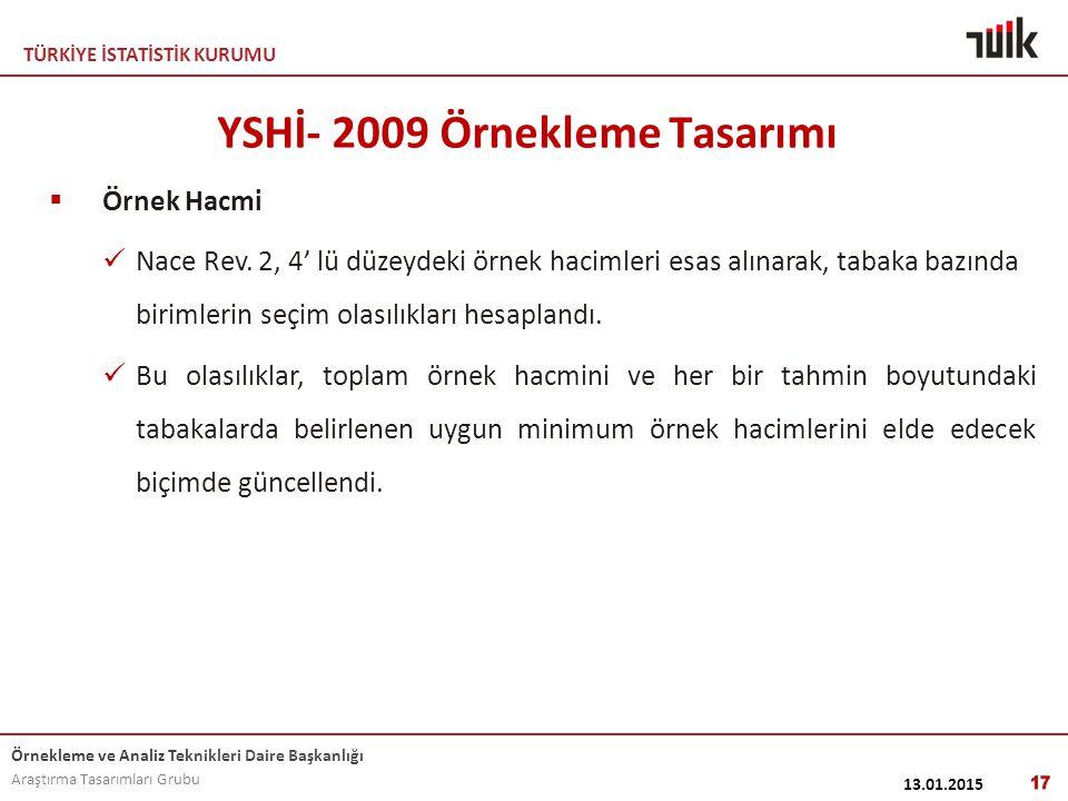 YSHİ- 2009 Örnekleme Tasarımı