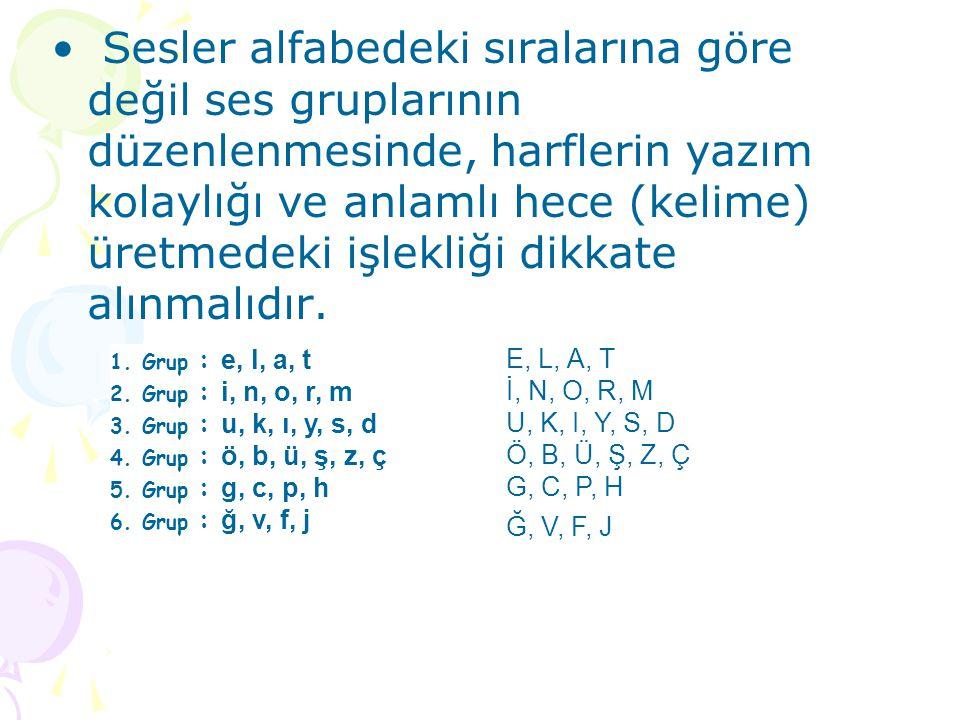 Sesler alfabedeki sıralarına göre değil ses gruplarının düzenlenmesinde, harflerin yazım kolaylığı ve anlamlı hece (kelime) üretmedeki işlekliği dikkate alınmalıdır.