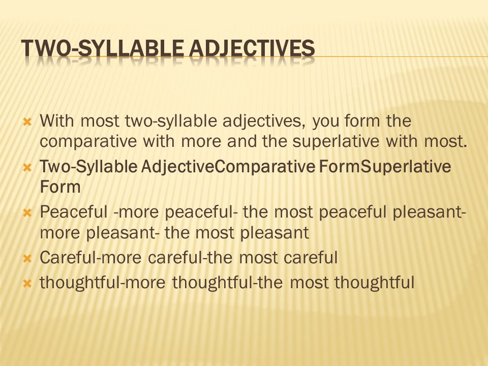 Two-syllable adjectives
