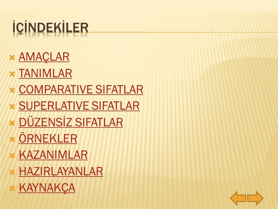 İÇİNDEKİLER AMAÇLAR TANIMLAR COMPARATIVE SIFATLAR SUPERLATIVE SIFATLAR