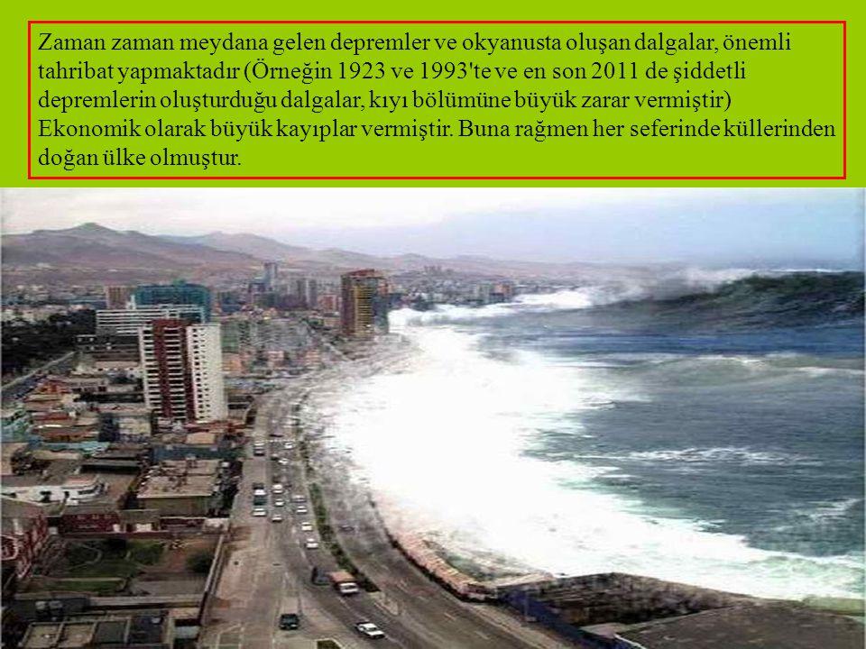 Zaman zaman meydana gelen depremler ve okyanusta oluşan dalgalar, önemli tahribat yapmaktadır (Örneğin 1923 ve 1993 te ve en son 2011 de şiddetli depremlerin oluşturduğu dalgalar, kıyı bölümüne büyük zarar vermiştir)