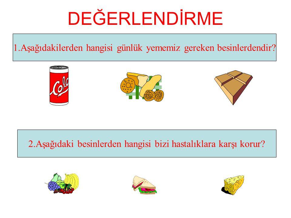 DEĞERLENDİRME 1.Aşağıdakilerden hangisi günlük yememiz gereken besinlerdendir.