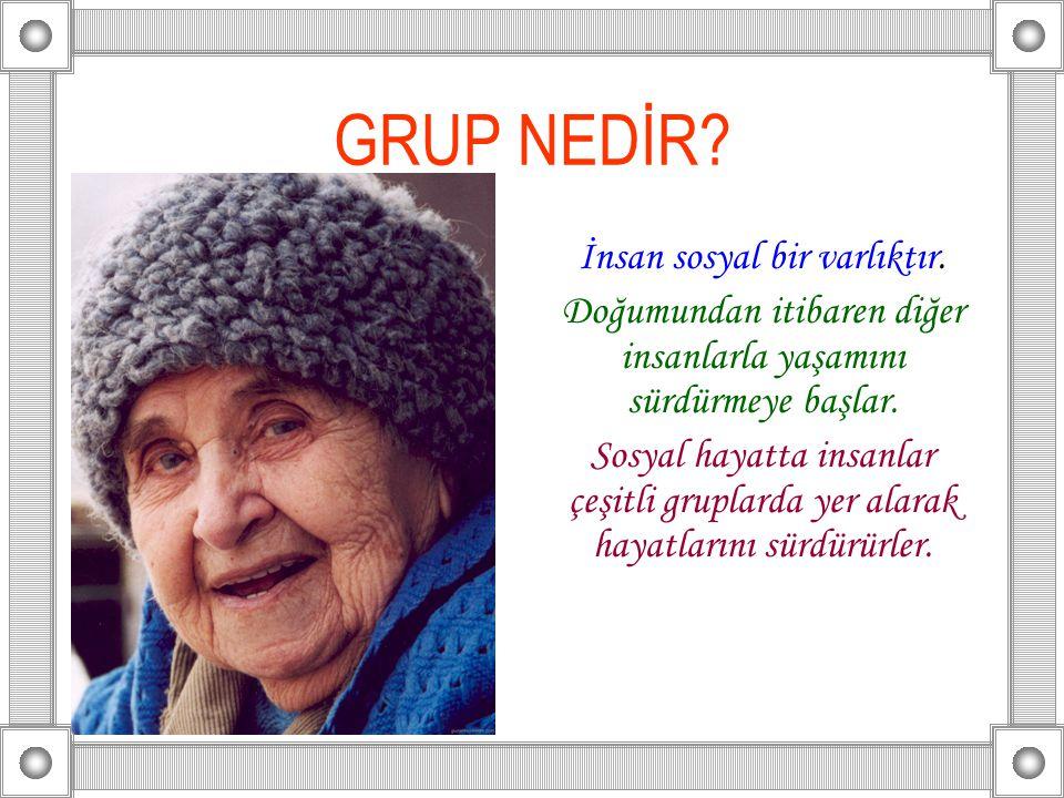 GRUP NEDİR İnsan sosyal bir varlıktır.