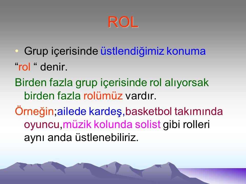 ROL Grup içerisinde üstlendiğimiz konuma rol denir.