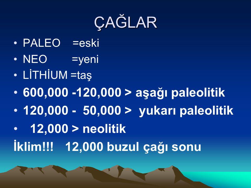 ÇAĞLAR 600,000 -120,000 > aşağı paleolitik