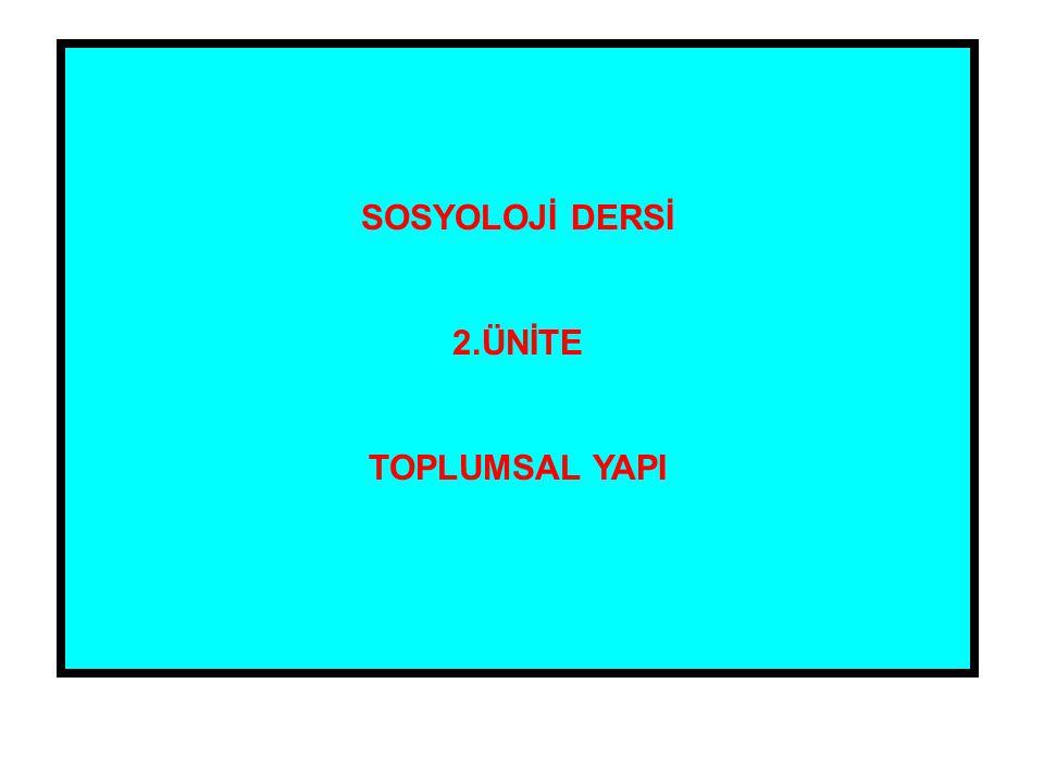 SOSYOLOJİ DERSİ 2.ÜNİTE TOPLUMSAL YAPI