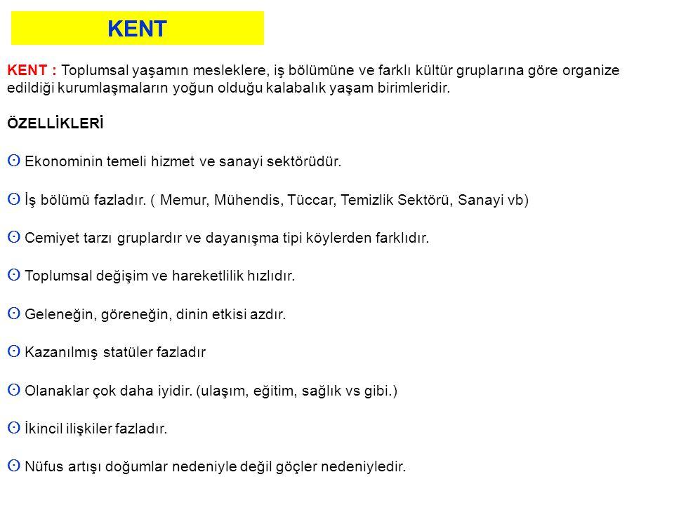 KENT ʘ Ekonominin temeli hizmet ve sanayi sektörüdür.