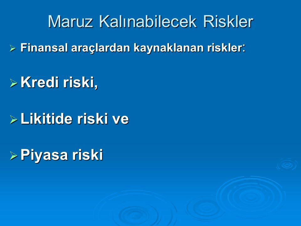 Maruz Kalınabilecek Riskler