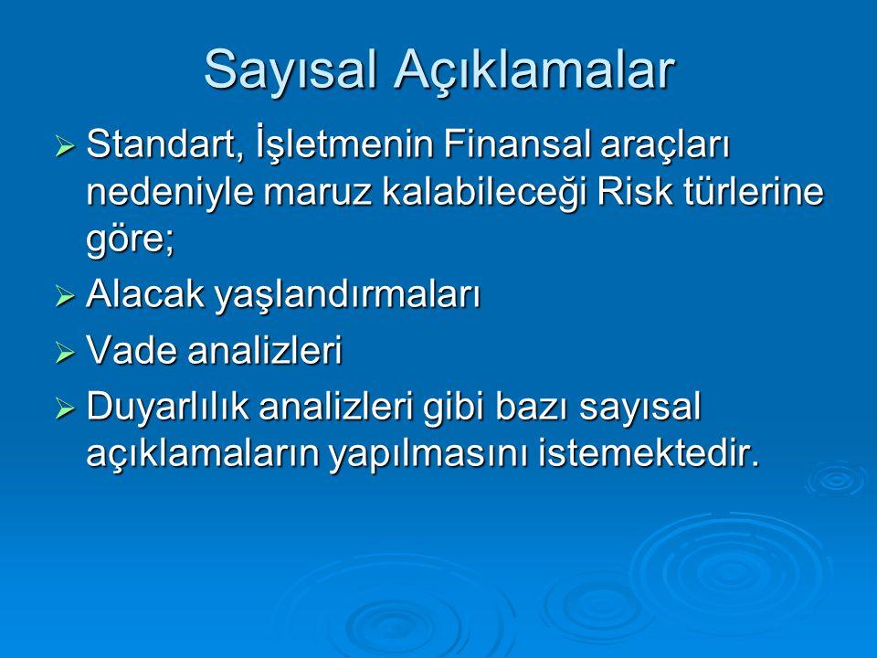 Sayısal Açıklamalar Standart, İşletmenin Finansal araçları nedeniyle maruz kalabileceği Risk türlerine göre;