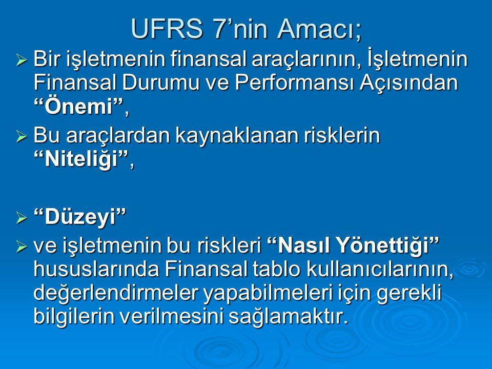 UFRS 7'nin Amacı; Bir işletmenin finansal araçlarının, İşletmenin Finansal Durumu ve Performansı Açısından Önemi ,