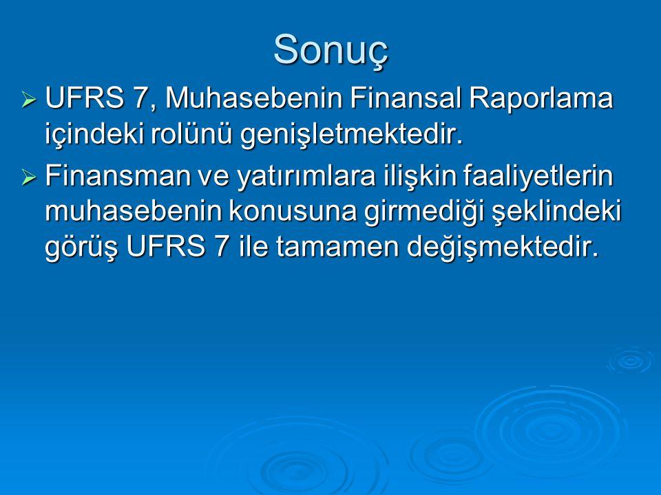 Sonuç UFRS 7, Muhasebenin Finansal Raporlama içindeki rolünü genişletmektedir.