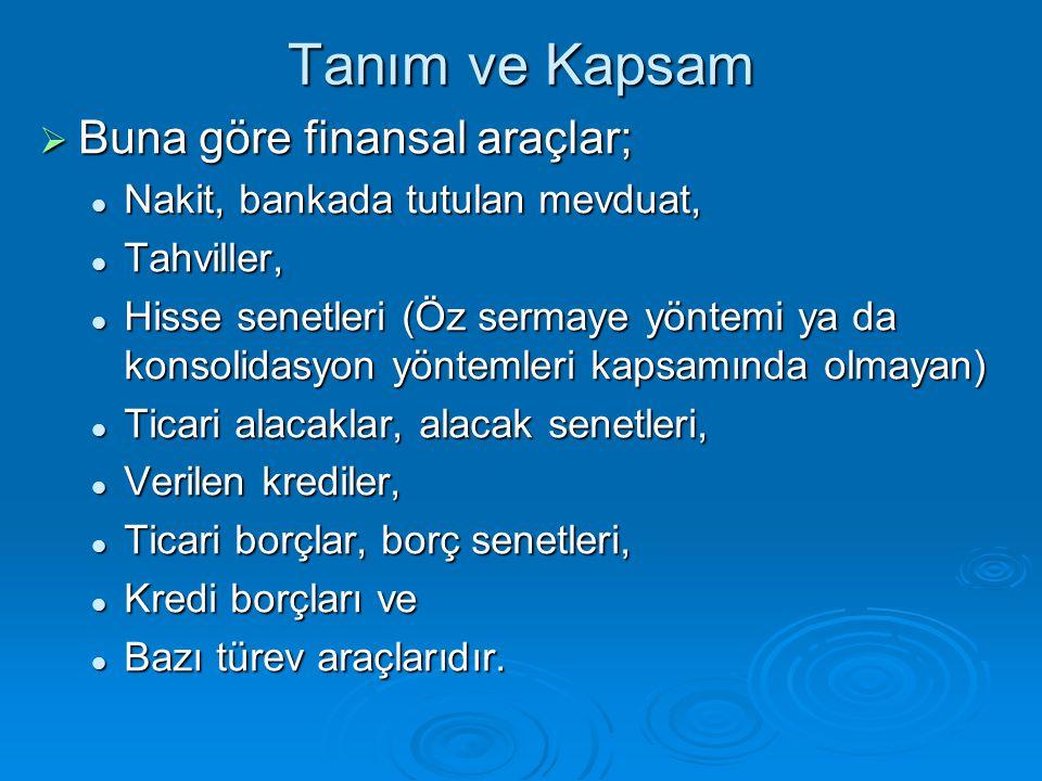 Tanım ve Kapsam Buna göre finansal araçlar;
