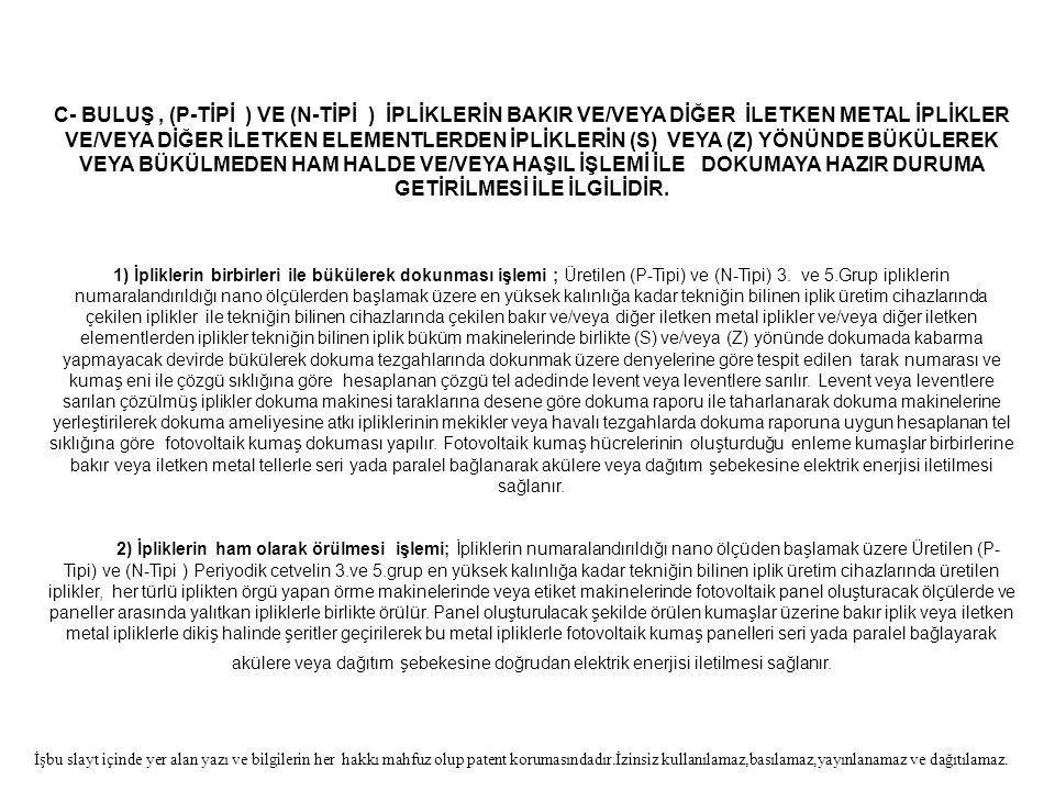 C- BULUŞ , (P-TİPİ ) VE (N-TİPİ ) İPLİKLERİN BAKIR VE/VEYA DİĞER İLETKEN METAL İPLİKLER VE/VEYA DİĞER İLETKEN ELEMENTLERDEN İPLİKLERİN (S) VEYA (Z) YÖNÜNDE BÜKÜLEREK VEYA BÜKÜLMEDEN HAM HALDE VE/VEYA HAŞIL İŞLEMİ İLE DOKUMAYA HAZIR DURUMA GETİRİLMESİ İLE İLGİLİDİR.