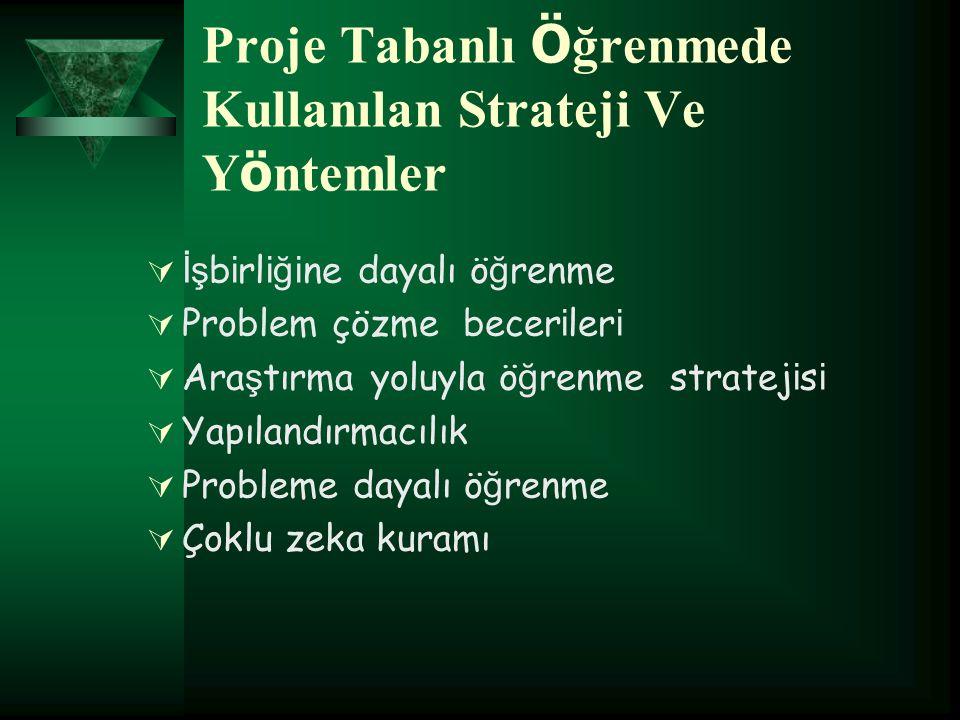 Proje Tabanlı Öğrenmede Kullanılan Strateji Ve Yöntemler