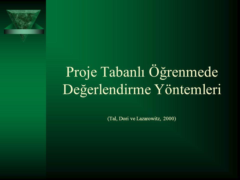 Proje Tabanlı Öğrenmede Değerlendirme Yöntemleri (Tal, Dori ve Lazarowitz, 2000)