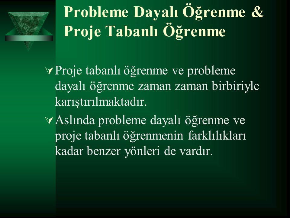 Probleme Dayalı Öğrenme & Proje Tabanlı Öğrenme